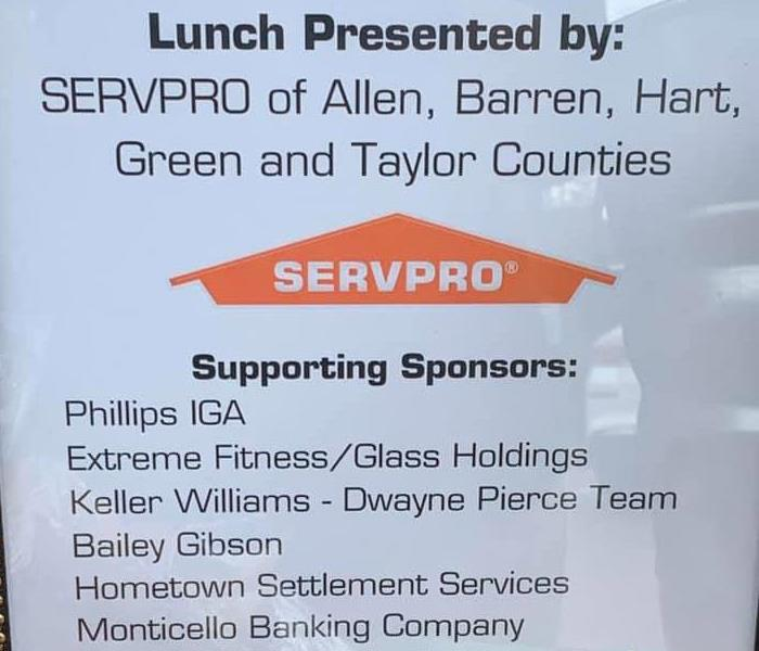 Photo of flyer with SERVPRO logo, along with a list of sponsors for the event