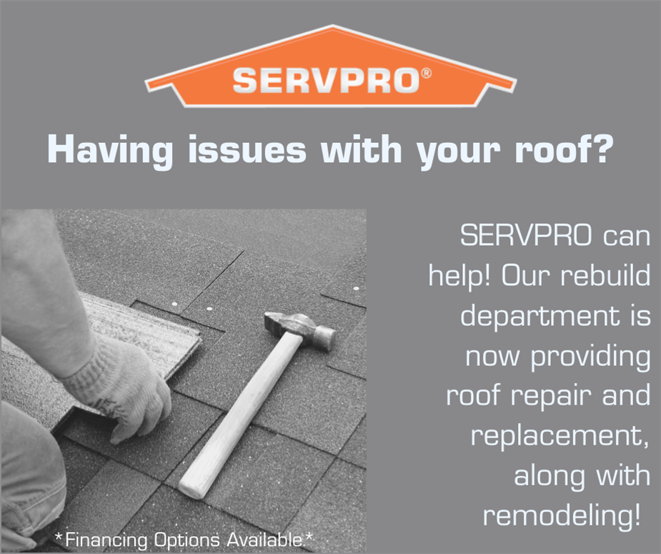 Gray background with SERVPRO house, a picture of a man working on a roof in the corner, and words on the right side of photo.
