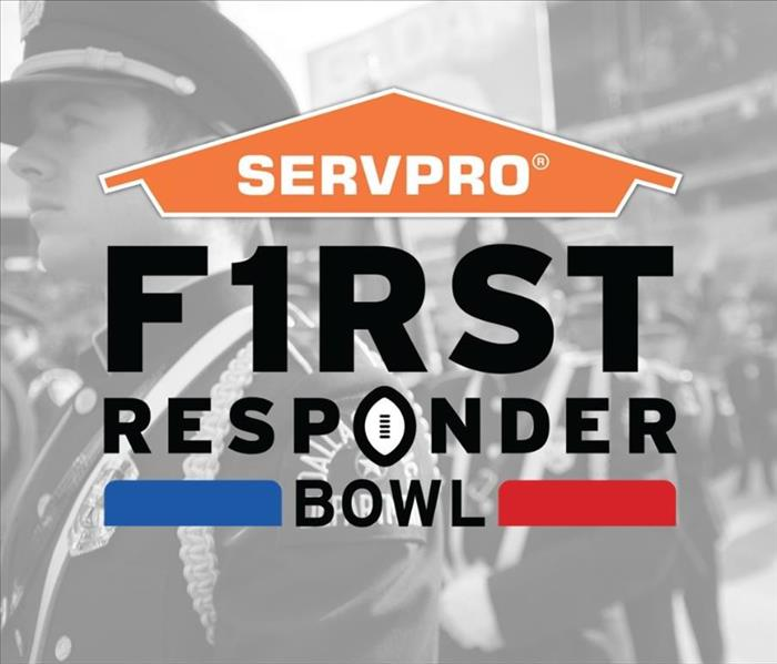 First Responders Bowl logo on top of a B&W photo of police officers